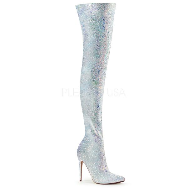 High Heel Overknee Stiefel COURTLY-3015 weiss Multi Glitter